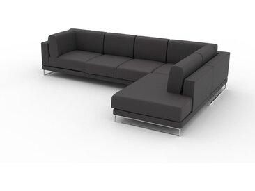 Canapé en cuir - Gris ardoise Cuir Végan, lounge, esprit club ou cosy avec toucher chaleureux, 308x 75 x 214 cm, modulable