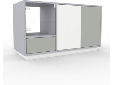 Vitrine - Blanc, design, pour documents, avec porte Verre clair transparent et tiroir Gris sable - 116 x 66 x 47 cm