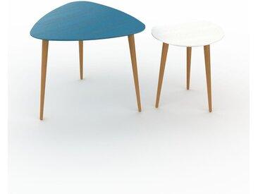 Tables basses gigognes - Blanc, triangulaire/ronde, design scandinave, set de 2 tables basses - 59/40 x 50/44 x 61/40 cm, personnalisable