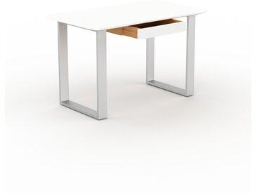 Bureau - Blanc, design industriel, table de travail de qualité, avec pieds en métal - 120 x 75 x 70 cm, personnalisable