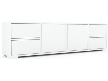 Buffet bas - Blanc, design contemporain, avec porte Blanc et tiroir Blanc - 156 x 43 x 35 cm