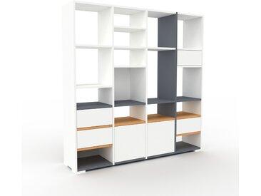 Bibliothèque - Blanc, design contemporain, avec porte Blanc et tiroir Blanc - 156 x 158 x 35 cm