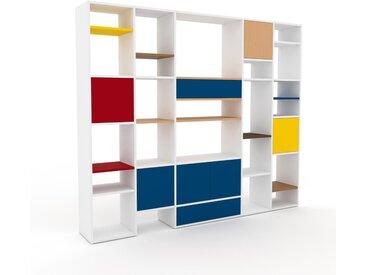 Système d'étagère - Blanc, design, rangements, avec porte Bleu et tiroir Bleu - 231 x 195 x 35 cm