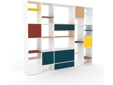 Système d'étagère - Bleu pétrole, design, rangements, avec porte Bleu pétrole et tiroir Bleu pétrole - 231 x 195 x 35 cm
