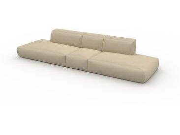 Canapé en cuir - Beige taupe Cuir Végan, lounge, esprit club ou cosy avec toucher chaleureux - 356 x 72 x 107 cm, modulable