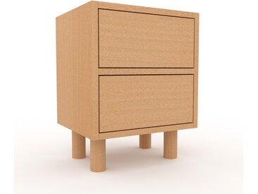 Table de chevet - Hêtre, contemporaine, table de nuit, avec tiroir Hêtre - 41 x 53 x 35 cm, modulable