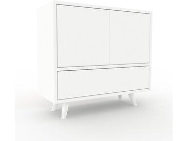 Table de chevet - Blanc, moderne, table de nuit, avec porte Blancs et tiroir Blanc - 77 x 72 x 35 cm