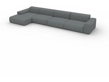 Canapé convertible - Gris Pierre, design arrondi, canapé lit confortable, moelleux et lit confortable - 445 x 72 x 168 cm, modulable
