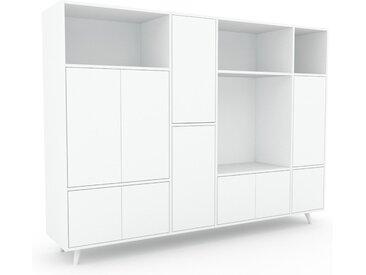 Meuble de rangements - Blanc, moderne, pour documents, avec porte Blanc - 229 x 168 x 47 cm, personnalisable