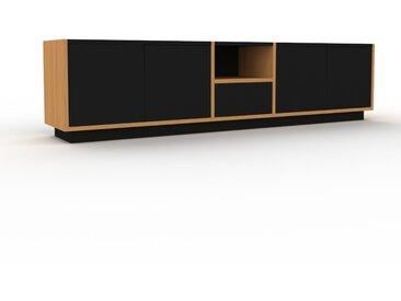 Meuble TV - Chêne, design, meuble hifi, multimedia, avec porte Noir et tiroir Noir - 190 x 47 x 35 cm