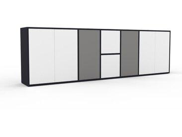 Enfilade - Anthracite, modèle de caractère, buffet, avec porte Blanc - 267 x 80 x 35 cm, modulable