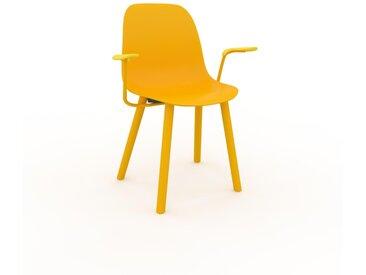 Chaise avec accoudoirs jaune de 49 x 82 x 62 cm au design unique, configurable