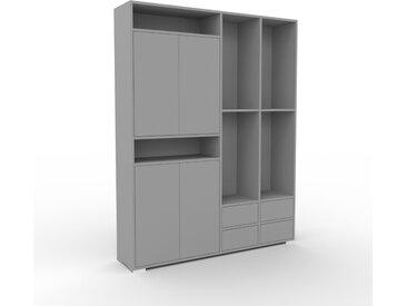 Système d'étagère - Gris, design, rangements, avec porte Gris et tiroir Gris - 154 x 196 x 35 cm