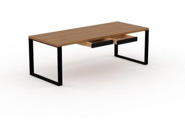 Bureau - Chêne, moderne, table de travail, avec tiroir Noir - 220 x 75 x 90 cm, modulable