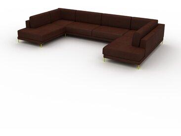 Canapé en U - Cognac, design épuré, canapé d'angle panoramique, grand et tendance, avec pieds - 388 x 75 x 214 cm, modulable