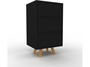 Table de chevet - Noir, contemporaine, table de nuit, avec tiroir Noir - 41 x 72 x 35 cm, modulable