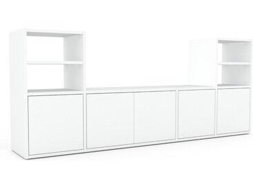Bibliothèque murale - Blanc, modèle moderne, étagère, avec porte Blanc - 193 x 80 x 35 cm, modulable