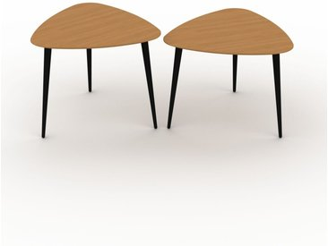 Tables basses gigognes - Chêne, triangulaire/triangulaire, design scandinave, set de 2 tables basses - 59/59 x 50/47 x 61/61 cm, personnalisable