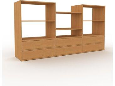 Meuble TV - Chêne, contemporain, meuble hifi, multimedia raffiné, avec tiroir Chêne - 226 x 118 x 47 cm, configurable
