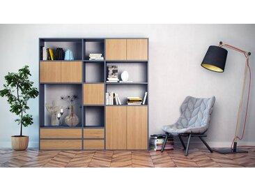 Bibliothèque - Anthracite, design contemporain, avec porte Chêne et tiroir Chêne - 190 x 195 x 35 cm