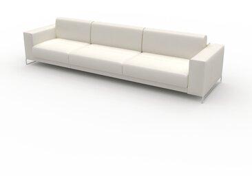 Canapé en cuir - Blanc Cuir Pigmenté, lounge, esprit club ou cosy avec toucher chaleureux, 328x 75 x 98 cm, modulable
