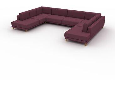 Canapé en U - Rouge Mûre, design épuré, canapé d'angle panoramique, grand et tendance, avec pieds - 388 x 75 x 254 cm, modulable