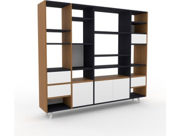 Bibliothèque - Chêne, design contemporain, avec porte Blanc et tiroir Blanc - 193 x 168 x 35 cm
