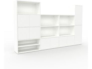Bibliothèque murale - Blanc, modèle moderne, étagère, avec porte Blanc - 265 x 157 x 35 cm, modulable