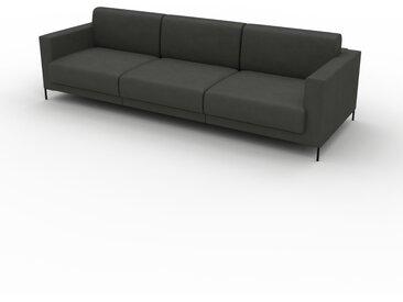 Canapé en cuir - Gris ardoise Cuir Aniline, lounge, esprit club ou cosy avec toucher chaleureux, 264x 75 x 98 cm, modulable