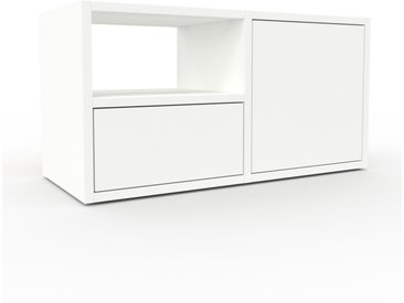 Table de chevet - Blanc, moderne, table de nuit, avec porte Blancs et tiroir Blanc - 79 x 41 x 35 cm
