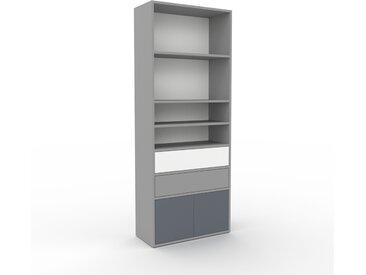 Bibliothèque - Gris, design contemporain, avec porte Anthracite et tiroir Gris - 77 x 195 x 35 cm