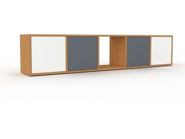 Buffet bas - Chêne, pièce de caractère, rangements bas de luxe, avec porte Blanc - 195 x 41 x 35 cm, personnalisable
