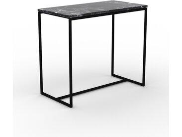 Table basse en marbre Noir Marquina, design contemporain, bout de canapé luxueux et sophistiqué - 81 x 71 x 42 cm, personnalisable