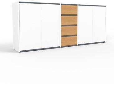 Commode - blanc, moderne, raffinée, avec porte blanc et tiroir chêne - 190 x 80 x 35 cm