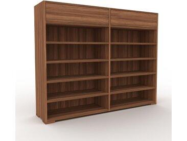 Bibliothèque - Noyer, modèle tendance, rangements pour livres, avec tiroir Noyer - 152 x 120 x 35 cm, modulable
