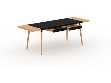Table à manger - Noir, design scandinave, pour salle à manger ou cuisine nordique, table extensible à rallonge - 220 x 75 x 70 cm