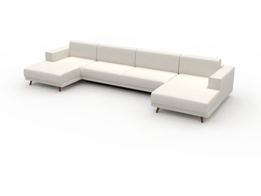 Canapé en U - Blanc, design épuré, canapé d'angle panoramique, grand et tendance, avec pieds - 408 x 75 x 162 cm, modulable