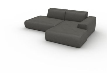 Canapé en cuir - Gris ardoise Cuir Végan, lounge, esprit club ou cosy avec toucher chaleureux - 245 x 72 x 168 cm, modulable