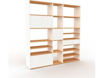 Système d'étagère - Blanc, design, rangements, avec porte Blanc et tiroir Blanc - 190 x 195 x 35 cm
