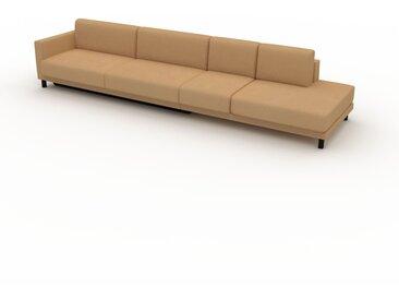 Canapé convertible - Brun Caramel, design épuré, canapé lit confortable, confortable avec coffre de rangement - 372 x 75 x 98 cm, modulable
