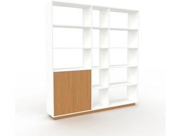 Système d'étagère - blanc, modulable, rangements, avec porte chêne - 190 x 200 x 35 cm