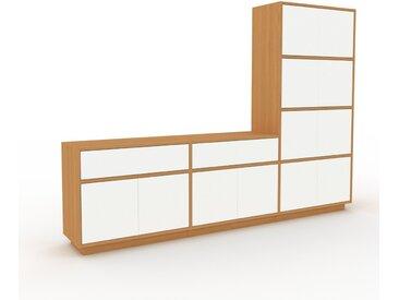 Meuble TV - Chêne, design, meuble hifi, multimedia, avec porte Blanc et tiroir Blanc - 226 x 162 x 35 cm