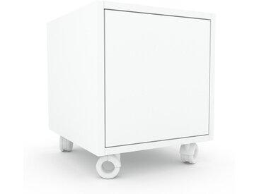 Caisson à roulette - Blanc, pièce modulable, rangement mobile, avec porte Blanc - 41 x 49 x 47 cm
