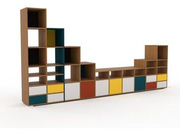 Système d'étagère - Blanc, design, rangements, avec porte Blanc et tiroir Blanc - 387 x 196 x 47 cm