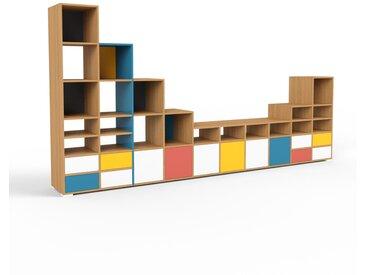 Système d'étagère - chêne, design, rangements, avec porte blanc et tiroir blanc - 387 x 196 x 47 cm