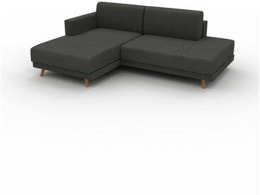 Canapé en cuir - Gris ardoise Cuir Aniline, lounge, esprit club ou cosy avec toucher chaleureux, 213x 75 x 162 cm, modulable