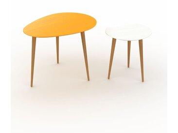Tables basses gigognes - Blanc, ovale/ronde, design scandinave, set de 2 tables basses - 67/40 x 50/44 x 50/40 cm, personnalisable