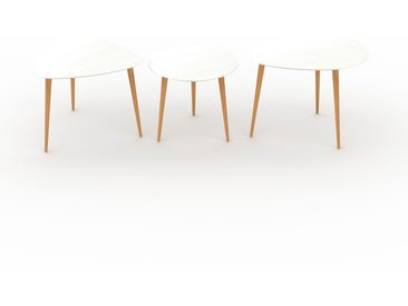 Tables basses gigognes - Blanc, triangulaire/ronde/ovale, design scandinave, set de 3 tables basses - 59/50/67 x 47/44/50 x 61/50/50 cm