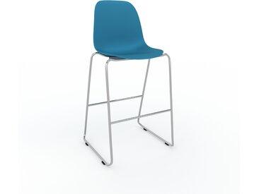 Chaise de bar bleu de 49 x 112 x 58 cm au design unique, configurable