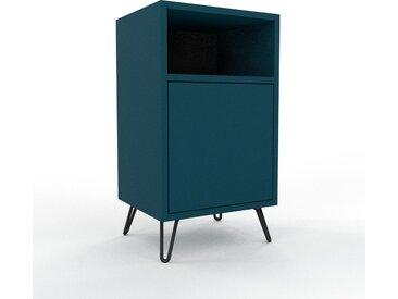 Table de chevet - Bleu pétrole, pièce de caractère, table de nuit, avec porte Bleu pétrole - 41 x 72 x 35 cm, combinable